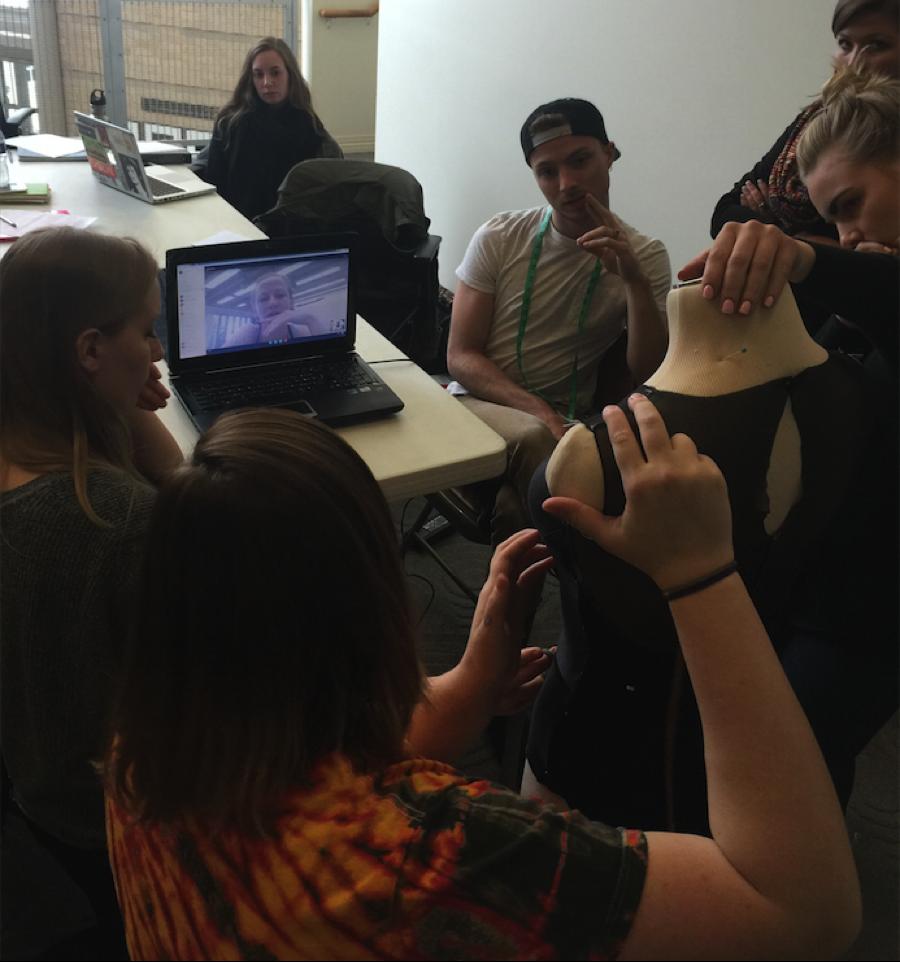 The class is presenting the leotard prototype via Skype to MOVEMEDIA II choreographer Penny Saunders