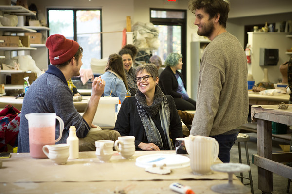 President Leslie Bellavance with KCAD students at Ox-Bow