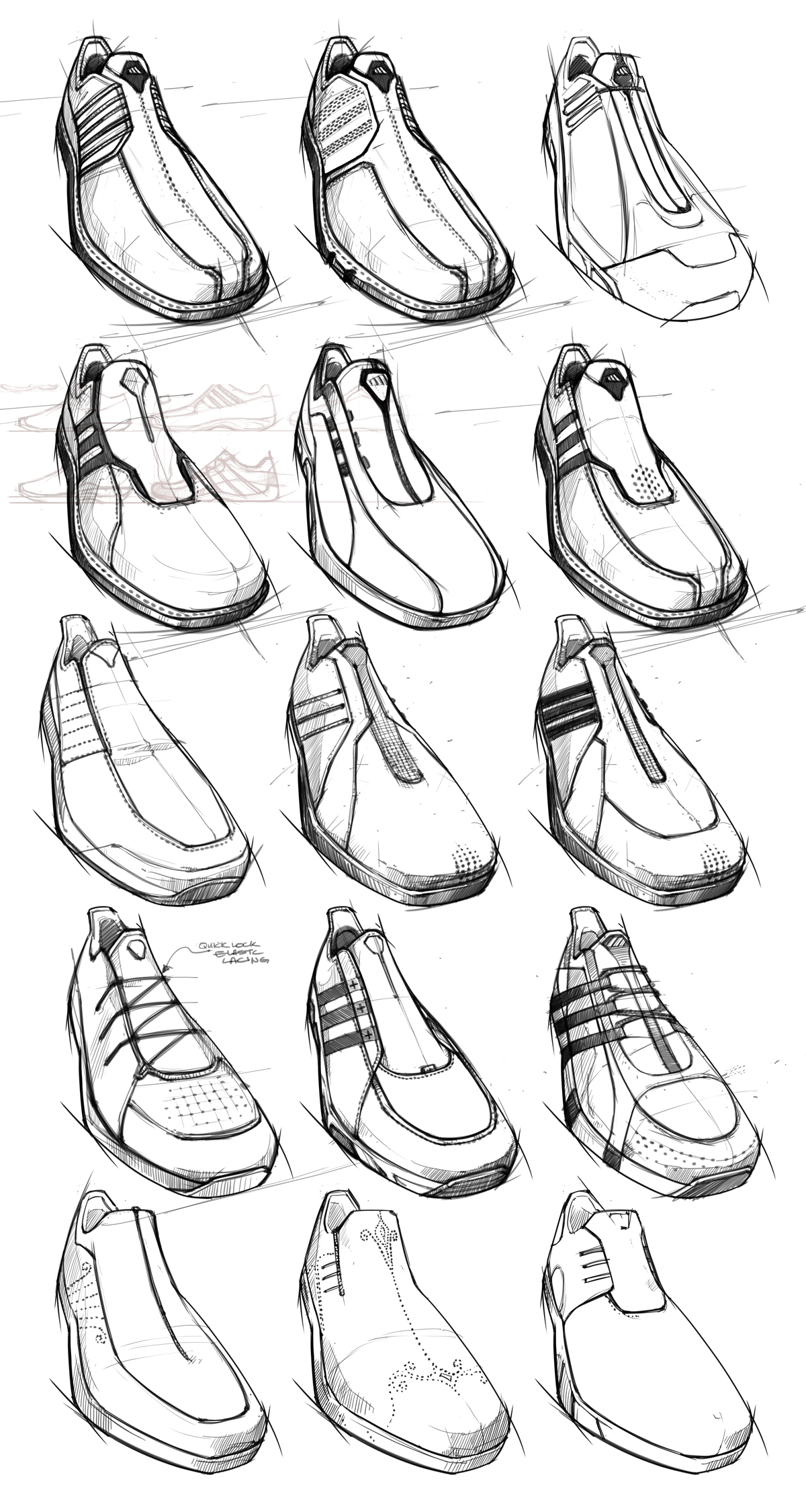 Preliminary sketches from a student in the Footwear Design class