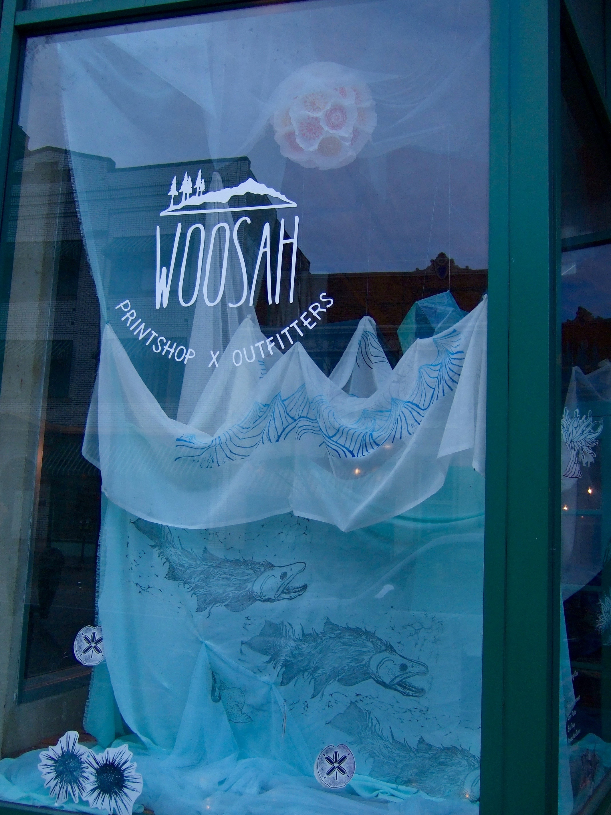 Printmaking class project at Woosah Outfitters