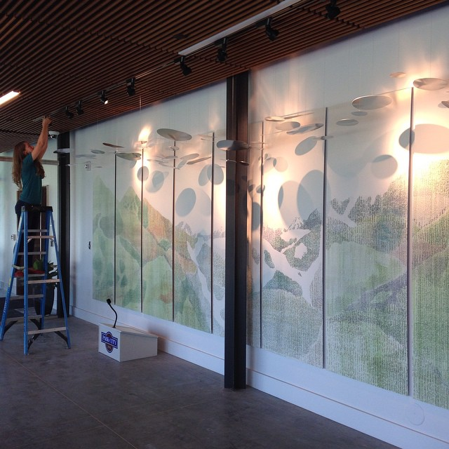 Danielle Wyckoff installing at Park City Library